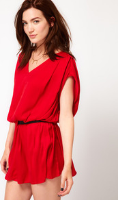 Flippy Dress With Elastic Waist - length: mini; neckline: v-neck; sleeve style: dolman/batwing; fit: fitted at waist; pattern: plain; style: blouson; waist detail: belted waist/tie at waist/drawstring; predominant colour: true red; occasions: casual, evening, holiday; fibres: polyester/polyamide - 100%; sleeve length: short sleeve; pattern type: fabric; texture group: jersey - stretchy/drapey