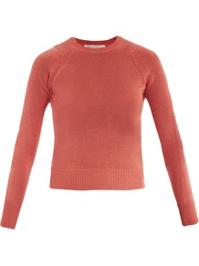 Crew Neck Sweater - pattern: plain; style: standard; predominant colour: coral; occasions: casual, work; length: standard; fibres: cotton - 100%; fit: standard fit; neckline: crew; sleeve length: long sleeve; sleeve style: standard; texture group: knits/crochet; pattern type: knitted - other