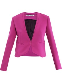 Illene Jacket - pattern: plain; style: single breasted blazer; collar: round collar/collarless; predominant colour: hot pink; occasions: evening, occasion; length: standard; fit: tailored/fitted; fibres: polyester/polyamide - 100%; sleeve length: long sleeve; sleeve style: standard; collar break: low/open; pattern type: fabric; texture group: woven light midweight
