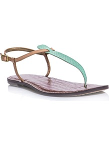Gigi Sandals - predominant colour: turquoise; occasions: casual; material: leather; heel height: flat; ankle detail: ankle strap; heel: standard; toe: toe thongs; style: flip flops / toe post; finish: plain; pattern: colourblock