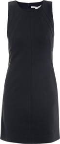 Carpreena Dress - style: shift; length: mid thigh; neckline: round neck; fit: tailored/fitted; pattern: plain; sleeve style: sleeveless; predominant colour: navy; occasions: casual, evening; fibres: polyester/polyamide - stretch; sleeve length: sleeveless; texture group: crepes; pattern type: fabric