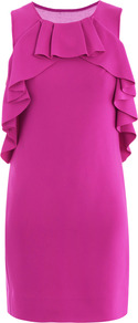 Pandora Dress - style: shift; length: mid thigh; neckline: round neck; pattern: plain; sleeve style: sleeveless; waist detail: fitted waist; shoulder detail: tiers/frills/ruffles; predominant colour: hot pink; occasions: evening, occasion; fit: body skimming; fibres: polyester/polyamide - 100%; sleeve length: sleeveless; texture group: crepes; trends: glamorous day shifts, fluorescent; bust detail: tiers/frills/bulky drapes/pleats; pattern type: fabric; pattern size: standard