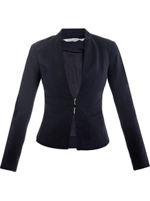 Yadira Jacket - pattern: plain; style: single breasted blazer; collar: standard lapel/rever collar; predominant colour: black; occasions: evening, work; length: standard; fit: tailored/fitted; fibres: viscose/rayon - stretch; sleeve length: long sleeve; sleeve style: standard; collar break: low/open; pattern type: fabric; texture group: woven light midweight