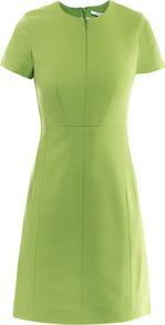 Agatha Dress - style: shift; fit: fitted at waist; pattern: plain; waist detail: fitted waist; predominant colour: lime; occasions: casual, evening, work; length: just above the knee; fibres: polyester/polyamide - stretch; neckline: crew; sleeve length: short sleeve; sleeve style: standard; texture group: crepes; trends: glamorous day shifts, fluorescent; pattern type: fabric