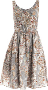 Paris Print Cotton Dress - sleeve style: sleeveless; style: sundress; waist detail: fitted waist; predominant colour: mid grey; occasions: casual, evening; length: just above the knee; fit: soft a-line; neckline: scoop; fibres: cotton - 100%; hip detail: structured pleats at hip; sleeve length: sleeveless; texture group: sheer fabrics/chiffon/organza etc.; trends: statement prints; pattern type: fabric; pattern size: small &amp; busy; pattern: patterned/print