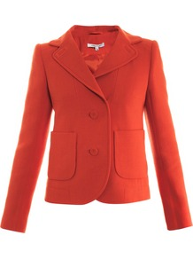 Double Crepe Two Button Jacket - pattern: plain; style: single breasted blazer; collar: standard lapel/rever collar; predominant colour: bright orange; occasions: casual, evening; length: standard; fit: tailored/fitted; sleeve length: long sleeve; sleeve style: standard; collar break: medium; pattern type: fabric; texture group: woven light midweight; fibres: viscose/rayon - mix