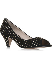 Carla - predominant colour: black; occasions: casual, evening, work, occasion; material: suede; heel height: mid; embellishment: studs; heel: cone; toe: open toe/peeptoe; style: courts; finish: plain; pattern: plain