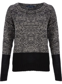 Slub Speckled Jumper - neckline: round neck; sleeve style: extended cuff; style: standard; predominant colour: charcoal; secondary colour: black; occasions: casual, work; length: standard; fibres: cotton - 100%; fit: standard fit; sleeve length: extra long; texture group: knits/crochet; pattern type: knitted - other; pattern size: big & light; pattern: colourblock