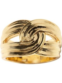 Anchors Knot Ring - predominant colour: gold; occasions: casual; style: band; size: large/oversized; material: chain/metal; finish: metallic