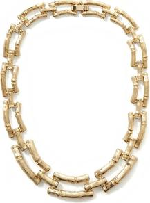 Indo Bamboo Link Necklace - predominant colour: gold; occasions: casual, evening, work, occasion, holiday; style: standard; length: short; size: standard; material: chain/metal; finish: metallic