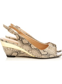 Snake Print Wedge Sandal - secondary colour: black; occasions: casual, evening, work, holiday; predominant colour: multicoloured; material: faux leather; heel height: mid; heel: wedge; toe: open toe/peeptoe; style: standard; finish: plain; pattern: animal print