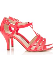 Coral Strappy Sandal - predominant colour: coral; occasions: evening, occasion, holiday; material: faux leather; heel height: mid; ankle detail: ankle strap; heel: stiletto; toe: open toe/peeptoe; style: strappy; finish: patent; pattern: plain