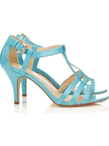 Blue Strappy Sandal - predominant colour: turquoise; occasions: evening, occasion, holiday; material: faux leather; heel height: mid; ankle detail: ankle strap; heel: stiletto; toe: open toe/peeptoe; style: strappy; finish: patent; pattern: plain