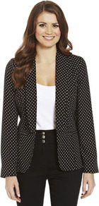 Soft Spotted Blazer - style: single breasted blazer; collar: shawl/waterfall; hip detail: front pockets at hip; pattern: polka dot; predominant colour: black; occasions: casual, work; length: standard; fit: tailored/fitted; fibres: polyester/polyamide - 100%; waist detail: fitted waist; sleeve length: long sleeve; sleeve style: standard; collar break: low/open; pattern type: fabric; pattern size: small &amp; busy; texture group: other - light to midweight