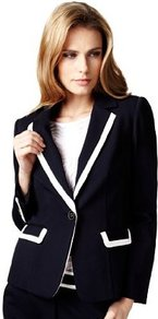 Single Breasted Tipped Blazer - style: single breasted blazer; hip detail: front pockets at hip; collar: standard lapel/rever collar; predominant colour: navy; occasions: casual, work; length: standard; fit: tailored/fitted; fibres: polyester/polyamide - stretch; waist detail: fitted waist; sleeve length: long sleeve; sleeve style: standard; collar break: low/open; pattern type: fabric; pattern size: standard; pattern: colourblock; texture group: other - light to midweight