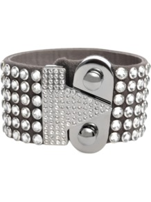Swarovski Bracelet - predominant colour: mid grey; occasions: evening, occasion; style: cuff; size: large/oversized; finish: plain; material: suede; embellishment: crystals