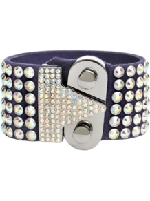 Swarovski Bracelet - predominant colour: silver; occasions: evening, occasion; style: cuff; size: large/oversized; material: leather; finish: plain; embellishment: crystals