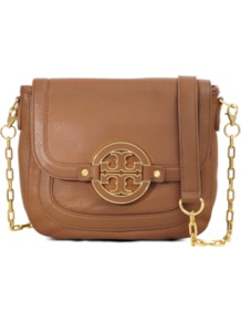 Amanda Cross Body Bag - predominant colour: tan; occasions: casual, work; style: messenger; length: across body/long; size: small; material: leather; pattern: plain; finish: plain; embellishment: chain/metal