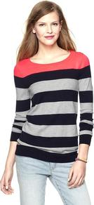 Colorblock Pop Sweater - neckline: round neck; pattern: horizontal stripes; style: standard; shoulder detail: contrast pattern/fabric at shoulder; occasions: casual, work; length: standard; fibres: nylon - mix; fit: standard fit; predominant colour: multicoloured; sleeve length: long sleeve; sleeve style: standard; texture group: knits/crochet; pattern type: knitted - other; pattern size: standard