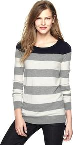 Colorblock Pop Sweater - neckline: round neck; pattern: horizontal stripes; style: standard; predominant colour: mid grey; occasions: casual, work; length: standard; fibres: nylon - mix; fit: standard fit; sleeve length: long sleeve; sleeve style: standard; texture group: knits/crochet; pattern type: knitted - other; pattern size: standard