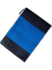 Two Tone Canvas Clutch - predominant colour: diva blue; occasions: casual, evening, occasion; type of pattern: standard; style: clutch; length: hand carry; size: small; material: faux leather; finish: plain; pattern: colourblock