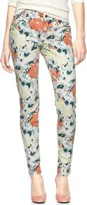 1969 Printed Legging Skimmer Jeans - style: skinny leg; length: standard; pocket detail: traditional 5 pocket; waist: mid/regular rise; occasions: casual; fibres: cotton - stretch; predominant colour: multicoloured; texture group: denim; pattern type: fabric; pattern size: big &amp; busy; pattern: florals