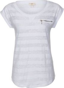 White Stripe Zip Pocket T Shirt - neckline: round neck; sleeve style: capped; pattern: horizontal stripes; style: t-shirt; predominant colour: white; occasions: casual; length: standard; fibres: cotton - mix; fit: body skimming; sleeve length: short sleeve; texture group: cotton feel fabrics; pattern type: fabric; pattern size: standard