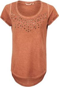 Orange Wash Studded T Shirt - sleeve style: capped; pattern: plain; bust detail: added detail/embellishment at bust; style: t-shirt; predominant colour: terracotta; occasions: casual; length: standard; neckline: scoop; fibres: cotton - 100%; fit: straight cut; back detail: longer hem at back than at front; sleeve length: short sleeve; texture group: cotton feel fabrics; pattern type: fabric; pattern size: small &amp; light; embellishment: beading