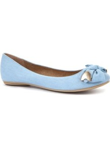 Blue Metal Trim Bow Pumps - predominant colour: pale blue; occasions: casual, evening, work; material: faux leather; heel height: flat; toe: round toe; style: ballerinas / pumps; finish: plain; pattern: plain; embellishment: bow