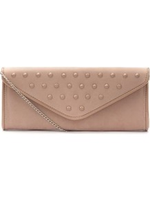 Pink Stud Envelope Clutch - predominant colour: nude; occasions: evening, occasion; type of pattern: light; style: clutch; length: hand carry; size: small; material: faux leather; embellishment: studs; pattern: plain; finish: plain