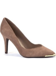 Light Brown Suede Metal Tip Pointed Court Shoes - predominant colour: taupe; occasions: evening, work, occasion; material: suede; heel height: high; heel: stiletto; toe: pointed toe; style: courts; finish: plain; pattern: plain; embellishment: chain/metal