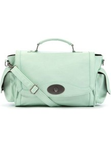 Mint Green Gasia Bowler Bag - predominant colour: pistachio; occasions: casual, work, holiday; type of pattern: standard; style: bowling; length: handle; size: standard; material: faux leather; pattern: plain; finish: plain