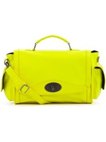 Neon Yellow Gasia Bowler Bag - predominant colour: yellow; occasions: casual, evening, holiday; type of pattern: standard; style: bowling; length: handle; size: standard; material: faux leather; pattern: plain; trends: fluorescent; finish: plain