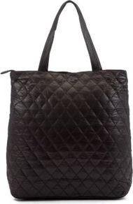 Black Milje Shop Tote Bag - predominant colour: black; occasions: casual, work; type of pattern: standard; style: tote; length: handle; size: standard; material: faux leather; embellishment: quilted; pattern: plain; finish: plain