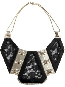 Limited Black Lace Insert Necklace - secondary colour: silver; predominant colour: black; occasions: evening, occasion, holiday; style: bib; length: short; size: large/oversized; material: chain/metal; finish: metallic; embellishment: lace