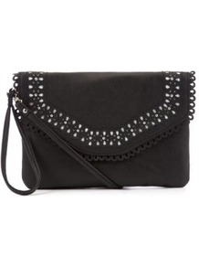 Black Cut Out Across Body Bag - predominant colour: black; occasions: casual, evening; type of pattern: small; style: clutch; length: hand carry; size: standard; material: faux leather; embellishment: studs; pattern: plain; finish: plain