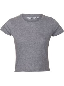 Grey Crop Top - pattern: plain; length: cropped; style: t-shirt; predominant colour: mid grey; occasions: casual; fibres: cotton - 100%; fit: straight cut; neckline: crew; sleeve length: short sleeve; sleeve style: standard; pattern type: fabric; texture group: jersey - stretchy/drapey