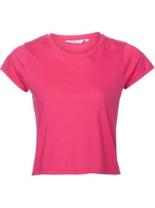 Fuchsia Crop Top - sleeve style: capped; pattern: plain; length: cropped; style: t-shirt; predominant colour: hot pink; occasions: casual; fibres: cotton - 100%; fit: straight cut; neckline: crew; sleeve length: short sleeve; pattern type: fabric; texture group: jersey - stretchy/drapey
