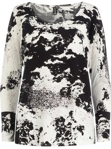 Black/White Print Cut Out Top - neckline: round neck; style: t-shirt; predominant colour: ivory; secondary colour: black; occasions: casual; length: standard; fibres: polyester/polyamide - stretch; fit: loose; sleeve length: long sleeve; sleeve style: standard; pattern type: fabric; pattern size: big & busy; pattern: patterned/print; texture group: jersey - stretchy/drapey