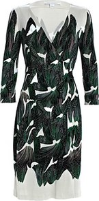 New Julian Silk Jersey Dress - style: faux wrap/wrap; neckline: v-neck; back detail: tie detail at back; secondary colour: ivory; predominant colour: dark green; occasions: evening, work, occasion; length: on the knee; fit: body skimming; fibres: silk - 100%; sleeve length: 3/4 length; sleeve style: standard; trends: statement prints; pattern type: fabric; pattern size: big & busy; pattern: patterned/print; texture group: jersey - stretchy/drapey