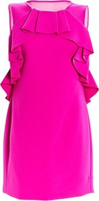 Pandora Dress - style: shift; neckline: round neck; pattern: plain; sleeve style: sleeveless; predominant colour: hot pink; occasions: evening, occasion; length: just above the knee; fit: body skimming; fibres: polyester/polyamide - 100%; sleeve length: sleeveless; trends: fluorescent; bust detail: tiers/frills/bulky drapes/pleats; pattern type: fabric; texture group: other - light to midweight