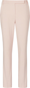 Joanna Zac Straight Leg Trousers - length: standard; pattern: plain; pocket detail: small back pockets; waist: mid/regular rise; predominant colour: blush; occasions: evening, work; fibres: cotton - stretch; texture group: cotton feel fabrics; fit: slim leg; pattern type: fabric; style: standard