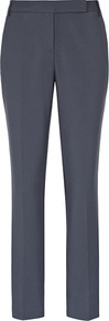 Joanna Zac Straight Leg Trousers - pattern: plain; pocket detail: small back pockets, pockets at the sides; waist: mid/regular rise; predominant colour: navy; occasions: evening, work; length: ankle length; fibres: cotton - stretch; fit: straight leg; pattern type: fabric; texture group: other - light to midweight; style: standard