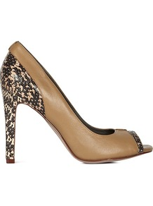 Caprice Watersnake Trim Peeptoe Courts - predominant colour: camel; occasions: evening, work, occasion; material: leather; heel height: high; heel: stiletto; toe: open toe/peeptoe; style: courts; finish: plain; pattern: animal print