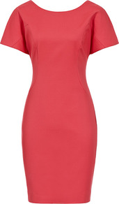 Beya V Back Bodycon Dress - sleeve style: capped; pattern: plain; style: bodycon; back detail: low cut/open back; secondary colour: true red; predominant colour: coral; occasions: casual, evening, occasion; length: just above the knee; fit: body skimming; neckline: scoop; fibres: cotton - stretch; sleeve length: short sleeve; texture group: cotton feel fabrics; pattern type: fabric