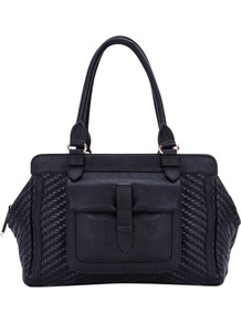 Tippy Weave Tote, Black - predominant colour: black; occasions: casual, evening, work; type of pattern: standard; style: tote; length: handle; size: standard; material: fabric; pattern: plain; finish: plain