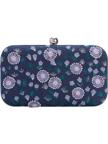 Flower Box Clutch, Blue Blood - secondary colour: lilac; predominant colour: navy; occasions: evening, occasion; type of pattern: large; style: clutch; length: hand carry; size: small; material: fabric; embellishment: embroidered; trends: high impact florals; finish: plain; pattern: patterned/print