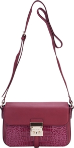 Croc Leather Cross Body Handbag - predominant colour: hot pink; occasions: casual, work; type of pattern: standard; style: messenger; length: across body/long; size: small; material: leather; pattern: animal print; finish: plain; embellishment: chain/metal