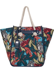 Morocco Tote, Multi - secondary colour: true red; predominant colour: navy; occasions: casual, holiday; type of pattern: heavy; style: tote; length: handle; size: oversized; material: fabric; trends: high impact florals; finish: plain; pattern: patterned/print