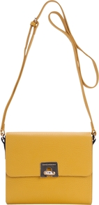 Harriet Cross Body Handbag, Sherbert Lemon - predominant colour: yellow; occasions: casual, work, holiday; type of pattern: standard; style: shoulder; length: across body/long; size: standard; material: leather; pattern: plain; finish: plain
